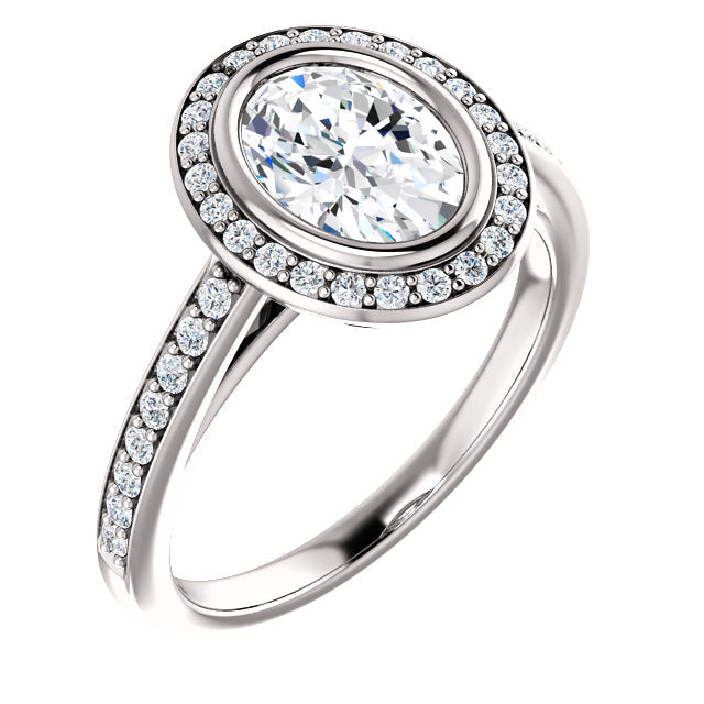 The Scarlett - Oval Halo Diamond Engagement Ring