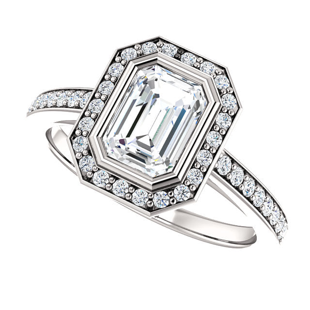 The Scarlett - Emerald Cut Halo Diamond Engagement Ring