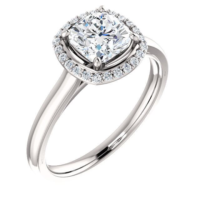 The Nora - Cushion Cut Halo Diamond Engagement Ring