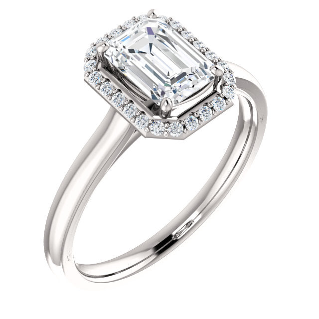 The Nora - Emerald Cut Halo Diamond Engagement Ring