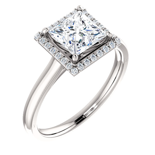 The Nora - Princess Cut Halo Diamond Engagement Ring