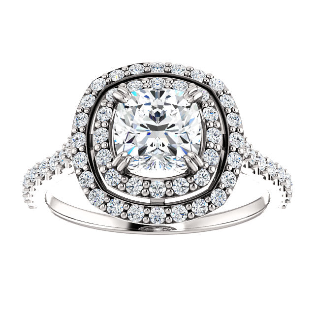 The Emma - Cushion Cut Double Halo Diamond Engagement Ring