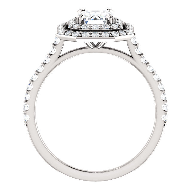 The Emma - Emerald Cut Double Halo Diamond Engagement Ring