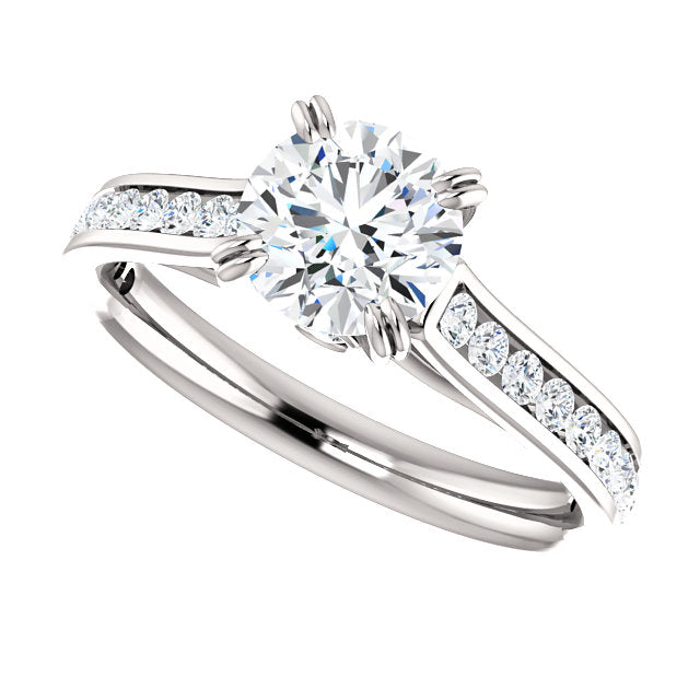 The Whitney - Round Diamond Engagement Ring with Side Stones