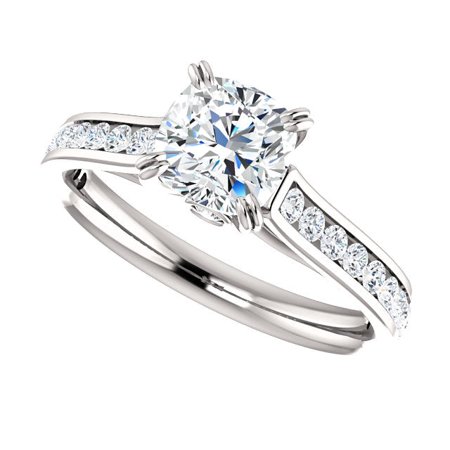 The Whitney - Cushion Cut Diamond Engagement Ring with Side Stones