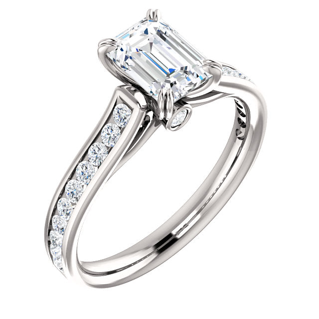 The Whitney - Emerald Cut Diamond Engagement Ring with Side Stones