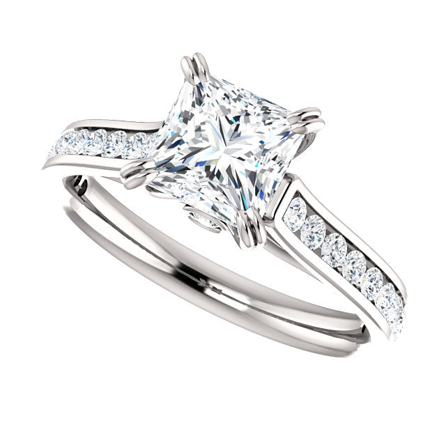 The Whitney - Princess Cut Diamond Engagement Ring with Side Stones