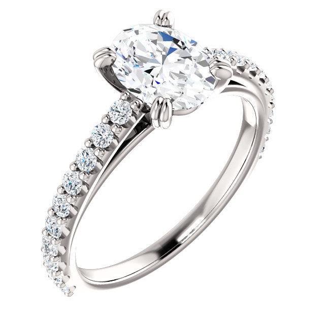 The Blaire - Oval Diamond Engagement Ring with Side Stones
