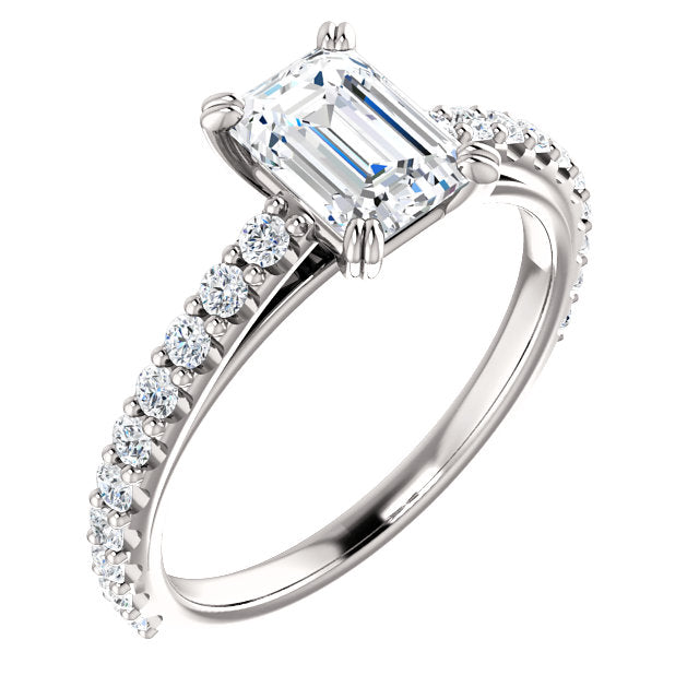 The Blaire - Emerald Cut Diamond Engagement Ring with Side Stones