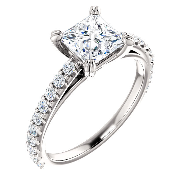 The Blaire - Princess Cut Diamond Engagement Ring with Side Stones