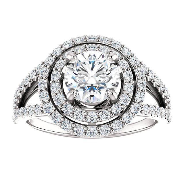 The Mia - Round Double Halo Split Shank Diamond Engagement Ring