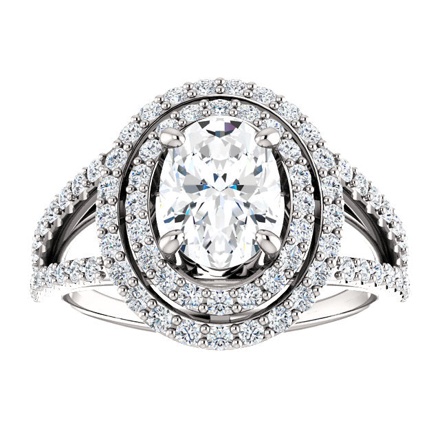 The Mia - Oval Double Halo Split Shank Diamond Engagement Ring