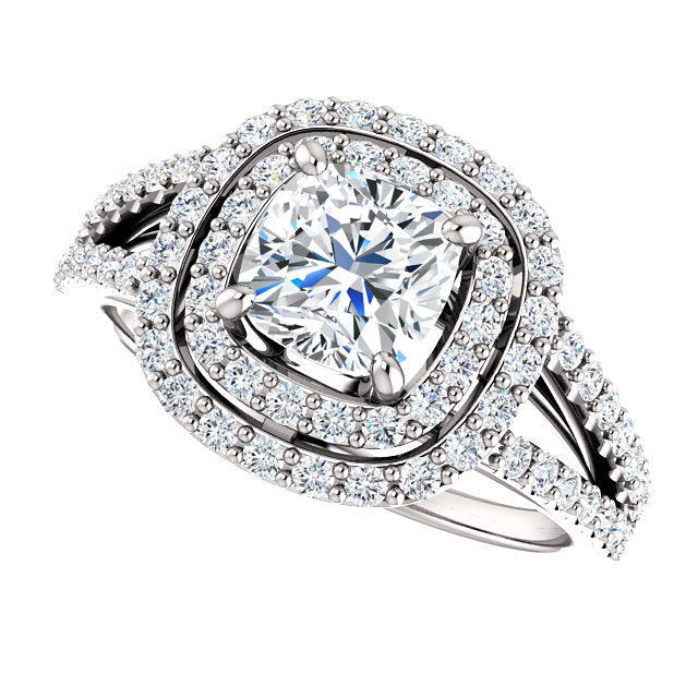 The Mia - Cushion Cut Double Halo Split Shank Diamond Engagement Ring