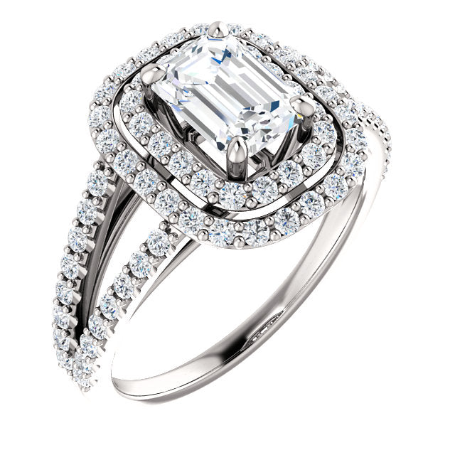 The Mia - Emerald Cut Double Halo Split Shank Diamond Engagement Ring