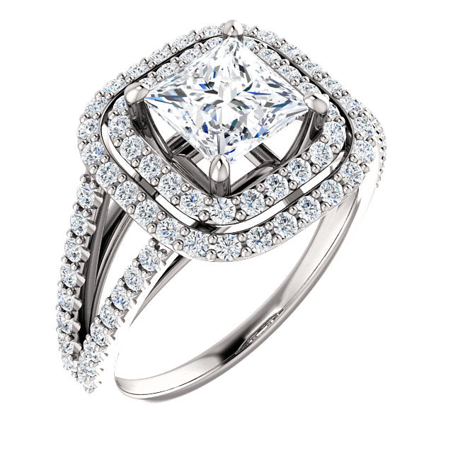 The Mia - Princess Cut Double Halo Split Shank Diamond Engagement Ring