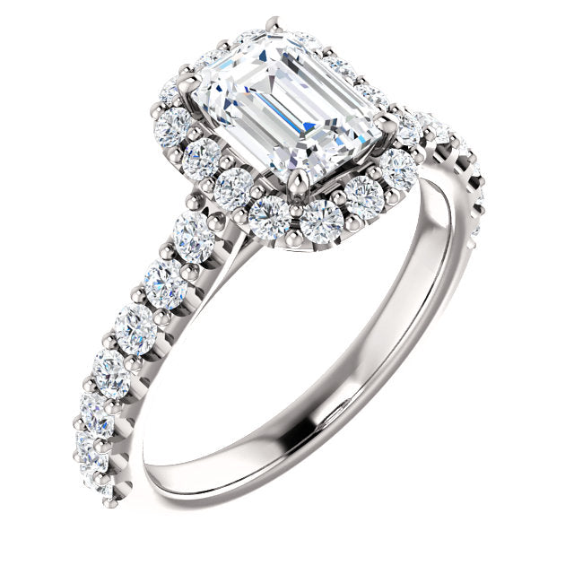 The Anna - Emerald Cut Halo Diamond Engagement Ring