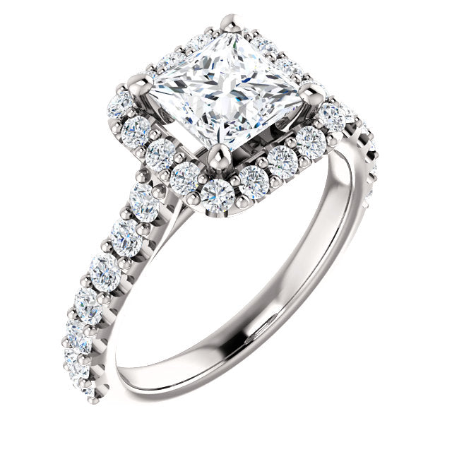 The Anna - Princess Cut Halo Diamond Engagement Ring