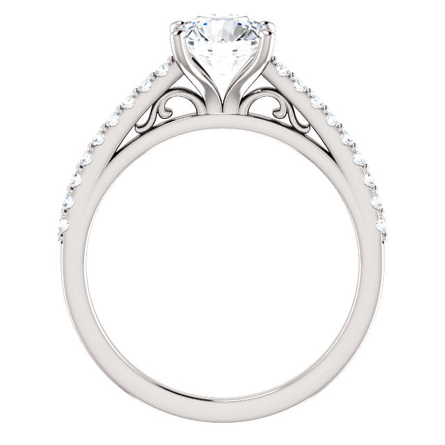 The Cora - Round Diamond Engagement Ring with Side Stones