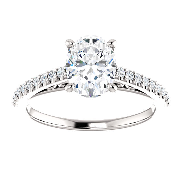 The Cora - Oval Diamond Engagement Ring with Side Stones