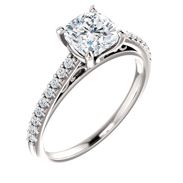 The Cora - Cushion Cut Diamond Engagement Ring with Side Stones