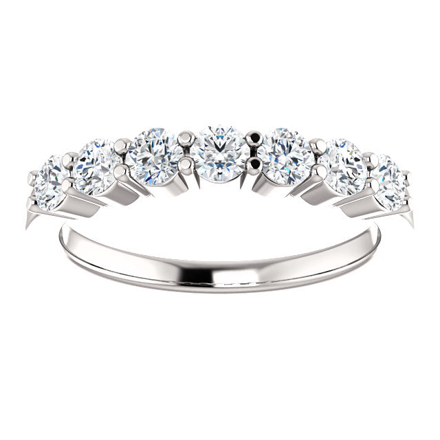 3/4ct 14k Seven Diamond Wedding Band with Shared Prongs