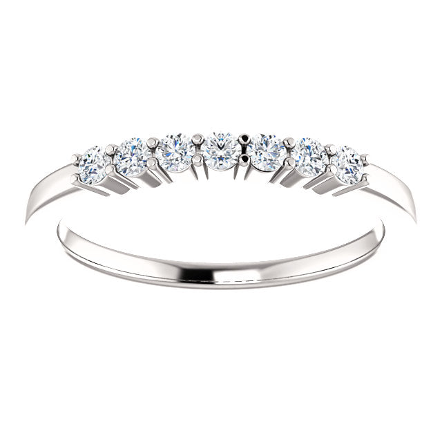 1/5ct 14k Seven Diamond Wedding Band with Shared Prongs