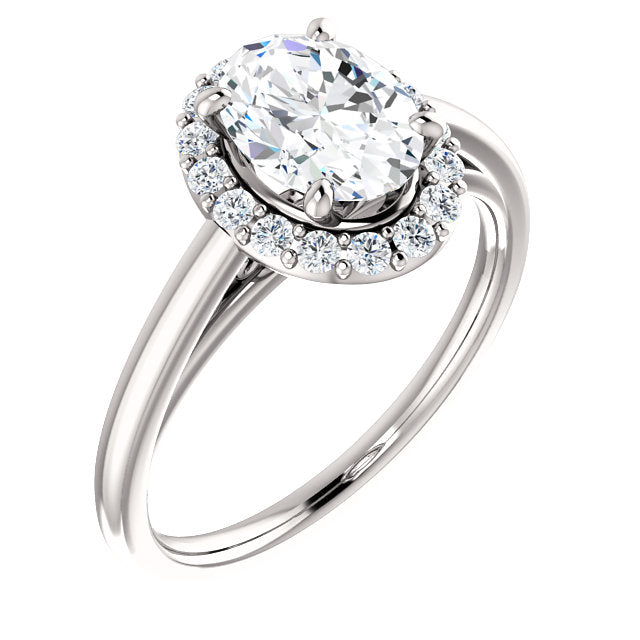The Elise - Oval Halo Diamond Engagement Ring