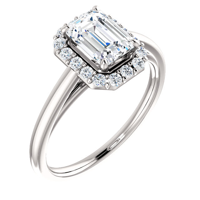 The Elise - Emerald Cut Halo Diamond Engagement Ring