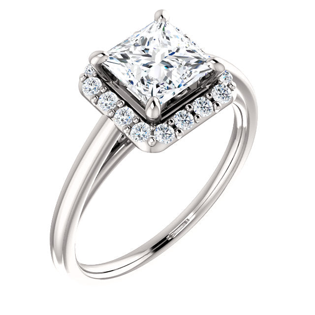 The Elise - Princess Cut Halo Diamond Engagement Ring