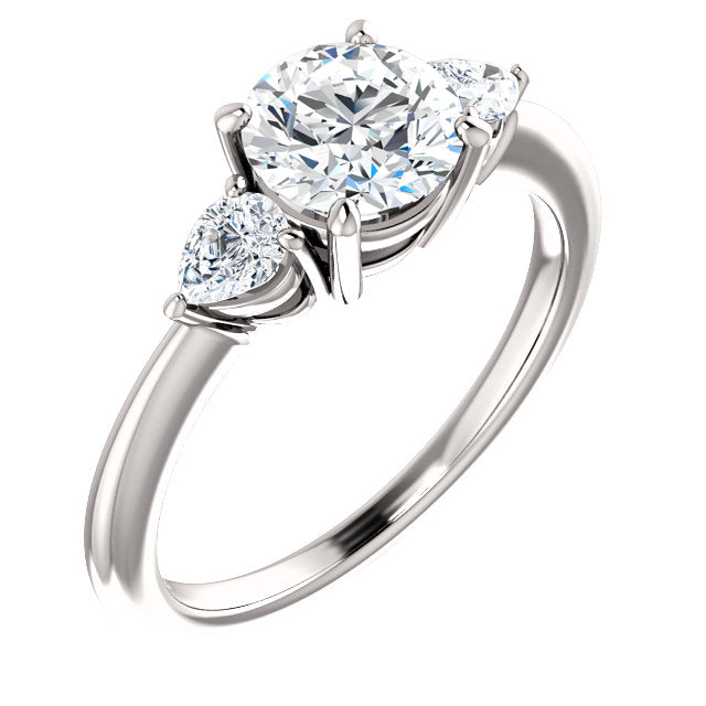 The Lily - Round Diamond Engagement Ring with Side Stones