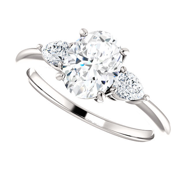 The Lily - Oval Diamond Engagement Ring with Side Stones