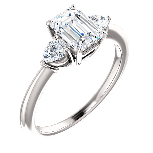 The Lily - Emerald Cut Diamond Engagement Ring with Side Stones