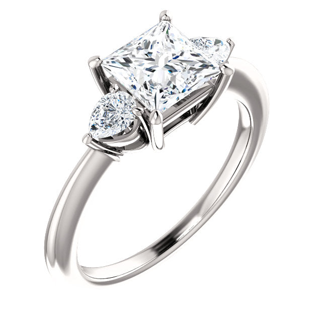 The Lily - Princess Cut Diamond Engagement Ring with Side Stones