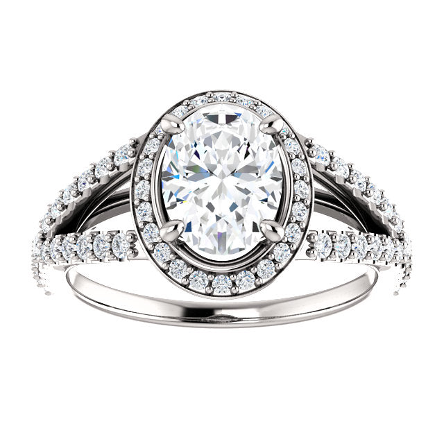 The Ada - Oval Halo Diamond Engagement Ring with Split Shank