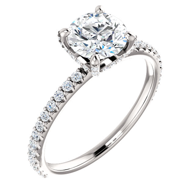The Ezra - Round Diamond Engagement Ring with Side Stones