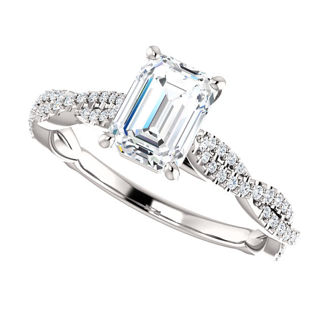 The Marigold - Emerald Cut Diamond Engagement Ring with Side Stones