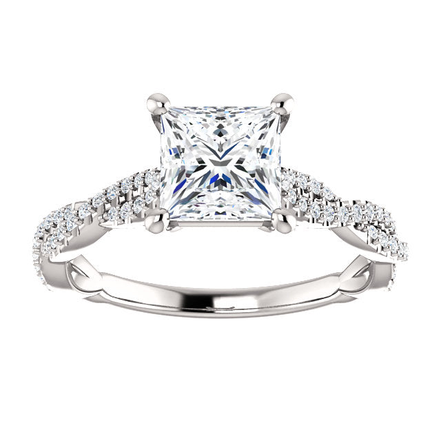 The Marigold - Princess Cut Diamond Engagement Ring with Side Stones