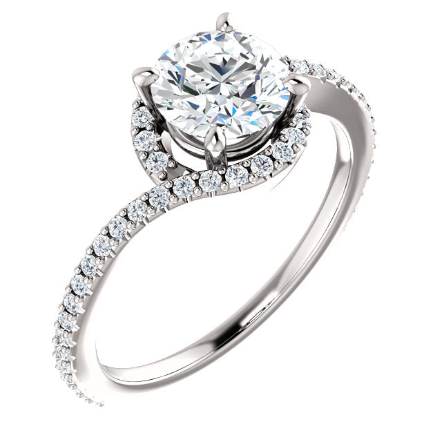 The Claire - Round Halo Bypass Diamond Engagement Ring
