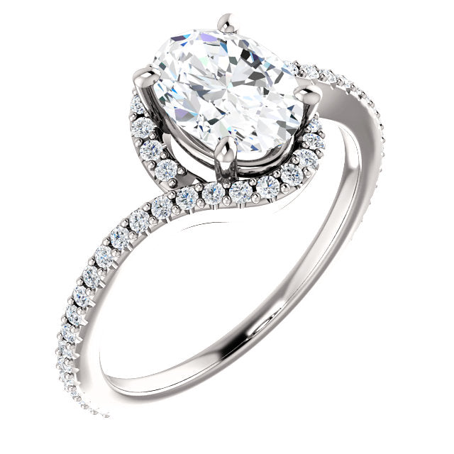 The Claire - Oval Halo Bypass Diamond Engagement Ring