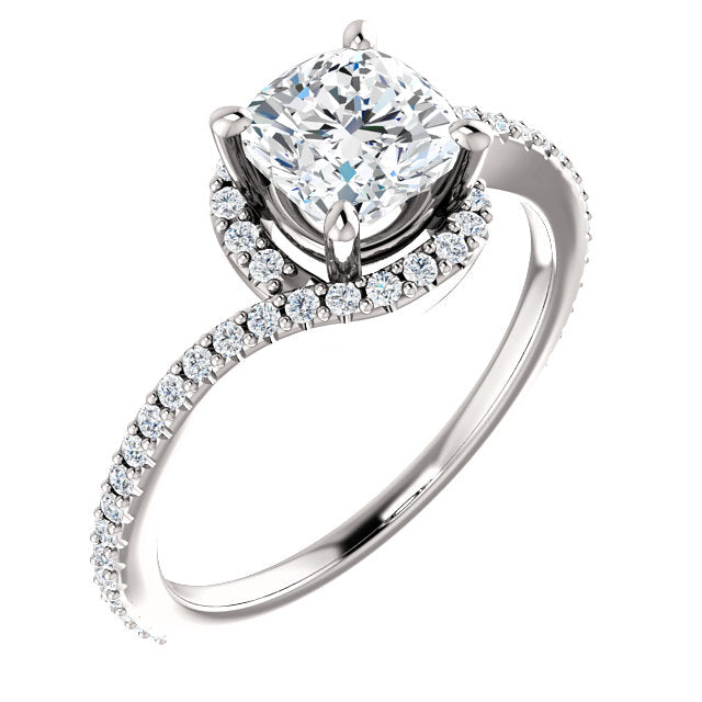 The Claire - Cushion Cut Halo Bypass Diamond Engagement Ring