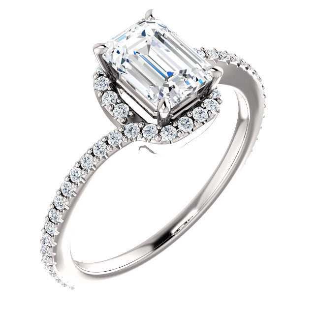 The Claire - Emerald Cut Halo Bypass Diamond Engagement Ring