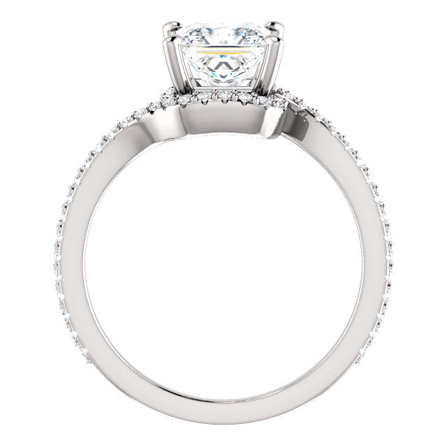 The Claire - Princess Cut Halo Bypass Diamond Engagement Ring
