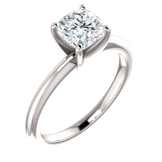 The Zoe Solitaire Cushion Cut Diamond Engagement Ring
