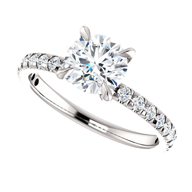 The Paige - Round Diamond Engagement Ring with Side Stones