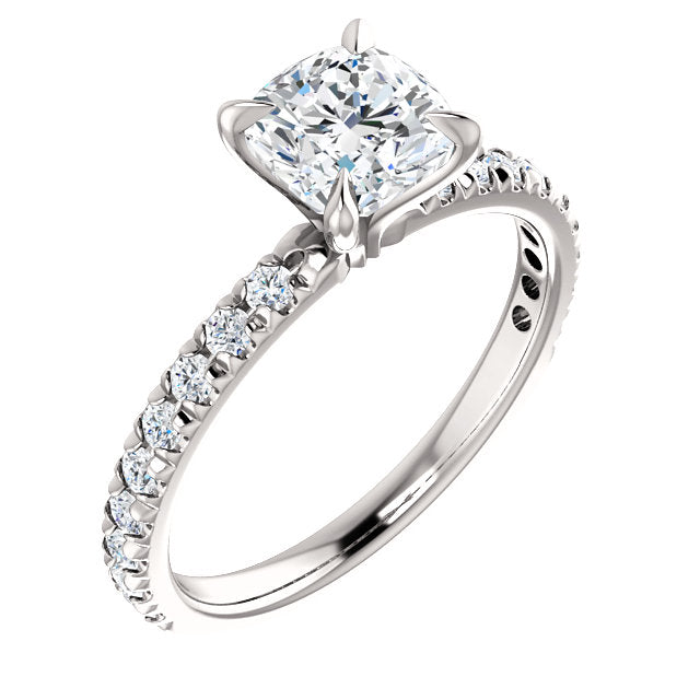 The Paige - Cushion Cut Diamond Engagement Ring with Side Stones