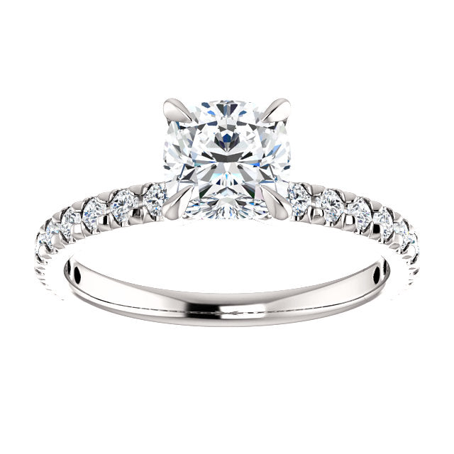 The Paige Cushion Cut Diamond Engagement Ring With Side Stones