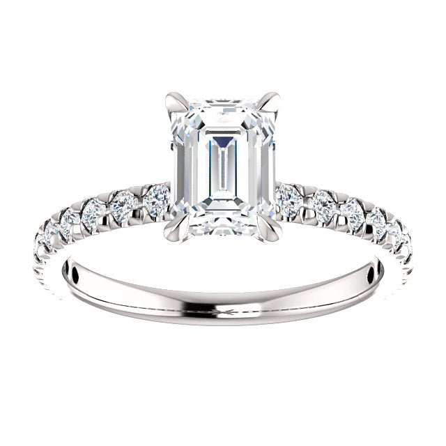 The Paige - Emerald Cut Diamond Engagement Ring with Side Stones