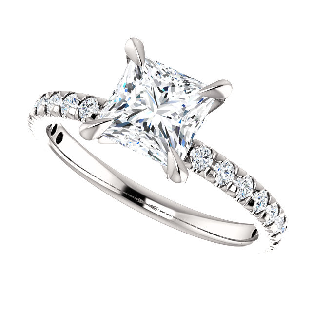 The Paige - Princess Cut Diamond Engagement Ring with Side Stones