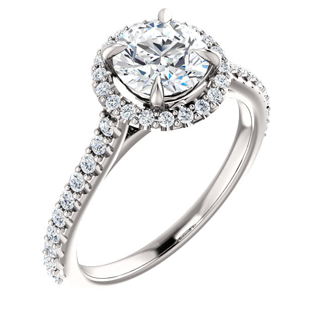 The Iris - Round Halo Diamond Engagement Ring
