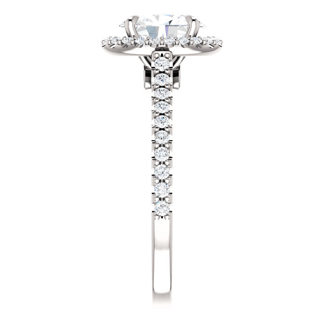 The Iris - Oval Halo Diamond Engagement Ring